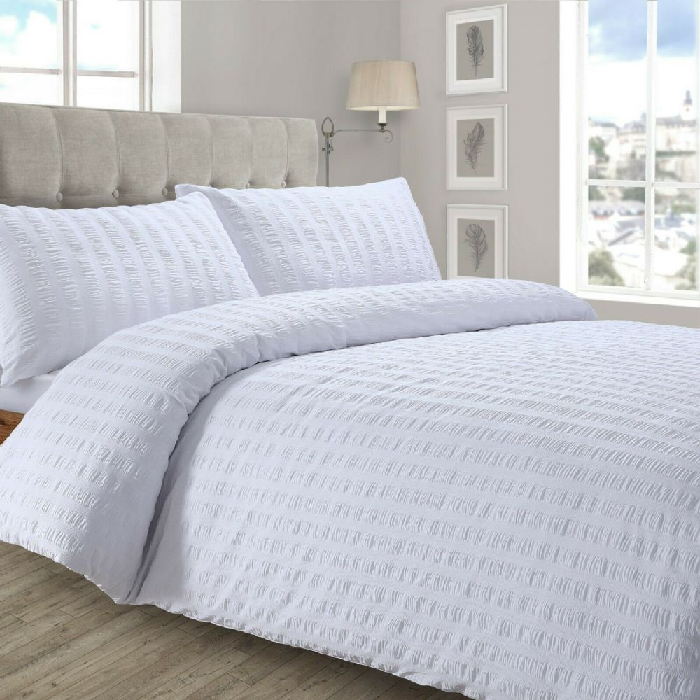 STYLISH RUFFLED LUXURY DUVET COVER SEERSUCKER PLEATED SOFT POLYCOTTON BEDDING WHITE